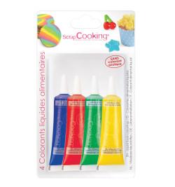 4 colorants alimentaires liquides bleu, rouge, jaune, vert réf.4010