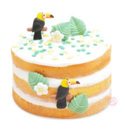 Réalisation gâteau avec décors sucrés tropical
