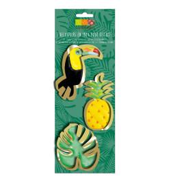 3 Découpoirs inox dorés toucan/ananas/feuille réf;2077