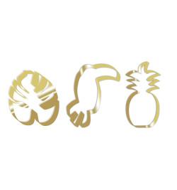 3 Découpoirs inox dorés toucan/ananas/feuille