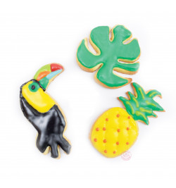 Réalisation biscuits toucan/ananas/feuille