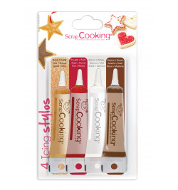 4 Icings or, choco, blanc, rouge réf.7125