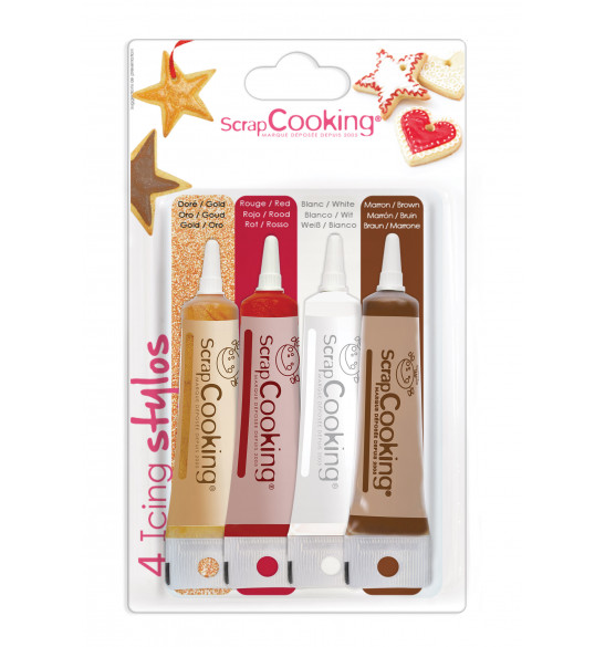 4 icings pens gold, choco, white, red 4X20g