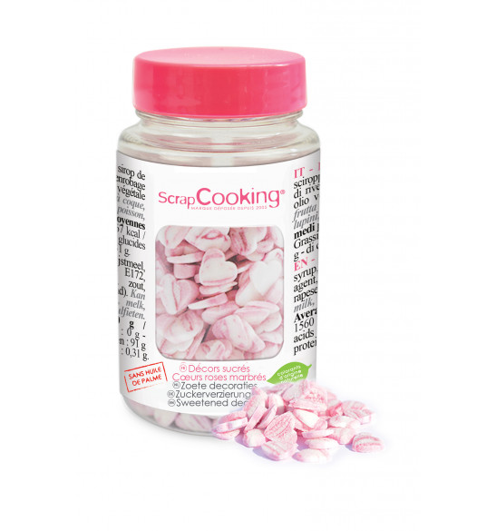 Pot of marbled pink heart sugar decos 50 g