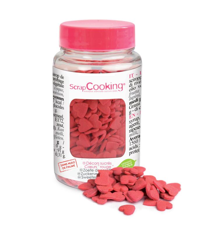 Pot de décors sucrés cœurs rouges
