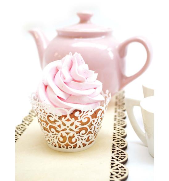 12 contours dentelle cupcakes blancs