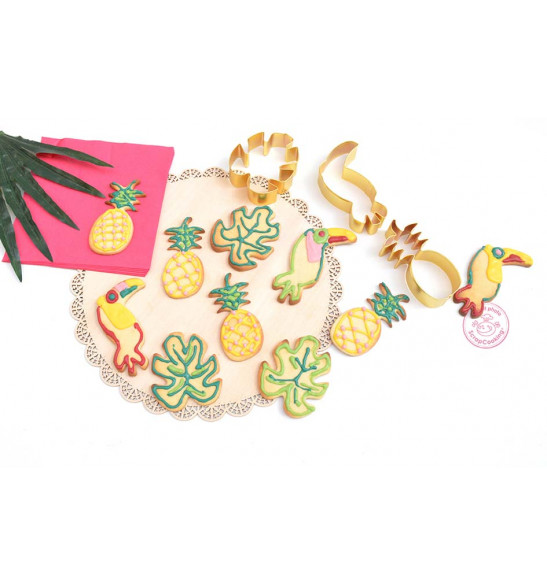 3 découpoirs dorés toucan/ananas/feuille