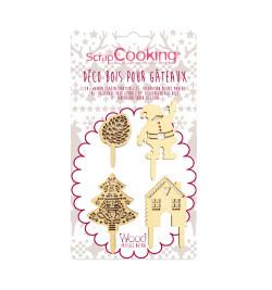 4 accessoires déco Noël bois réf.4991