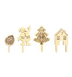 Détail motifs accessoires déco Noël bois 4991