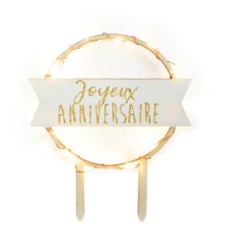 Cake topper led Joyeux Anniversaire réf.4960