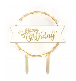 Cake topper led Happy Birthday réf.4962