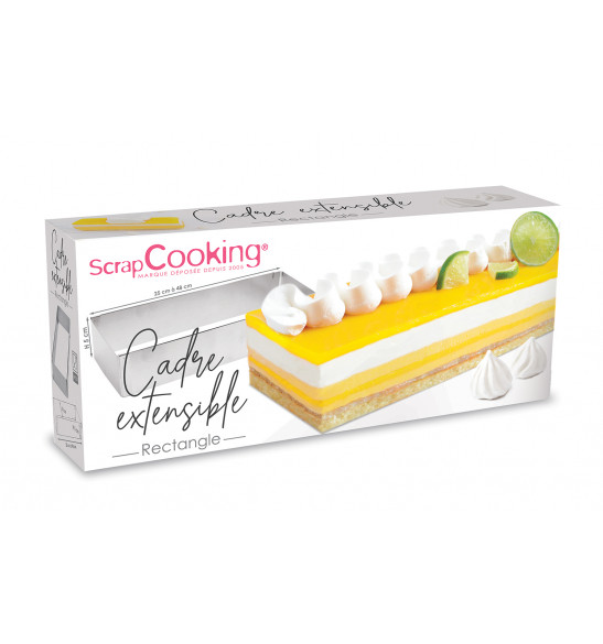 Cadre pâtissier rectangle extensible inox