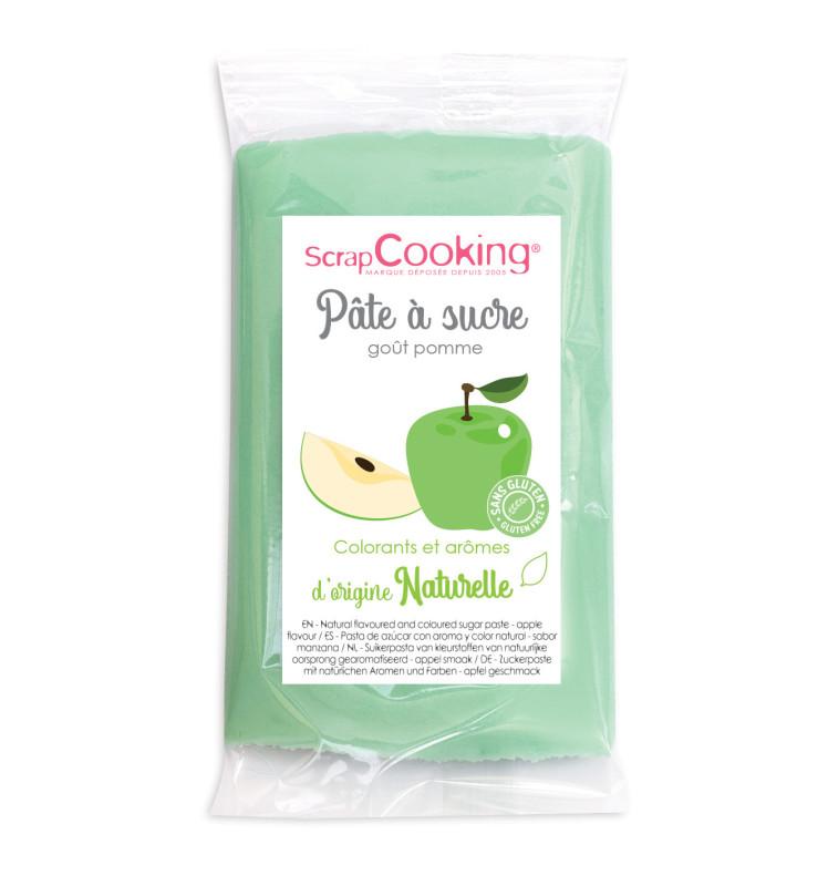 Pâte à sucre vert goût pomme 250gr