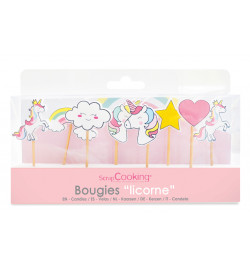 8 bougies licorne réf.5033