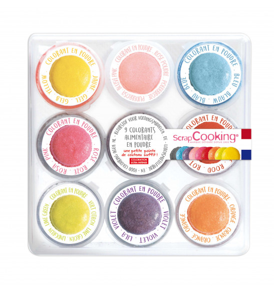 9 mini powdered food colourings