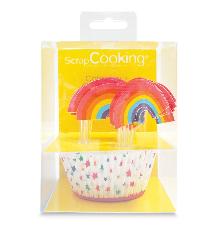 24 cupcake cases + 24 cake toppers rainbow