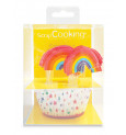 24 caissettes + 24 cake toppers rainbow