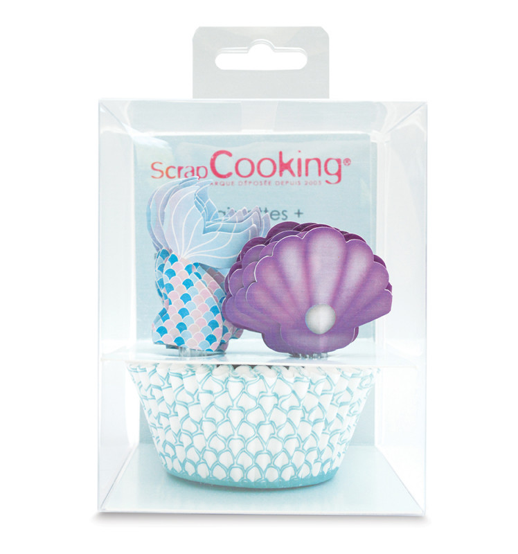 24 cupcake cases + 24 cake toppers mermaid