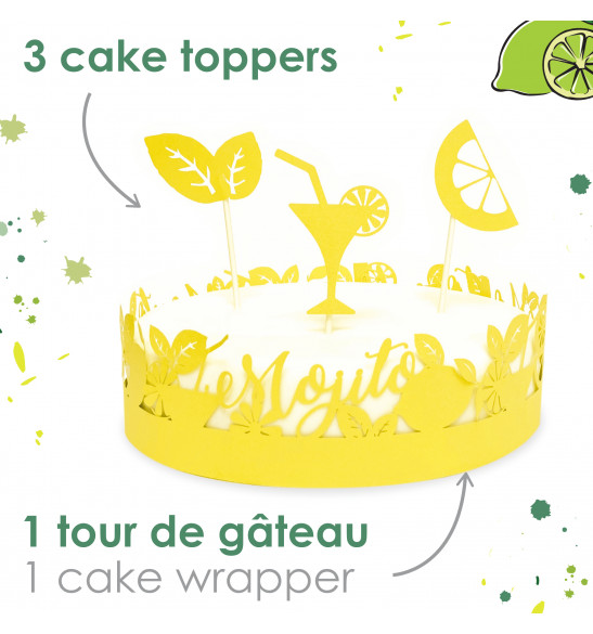 Cake scenery wrapper + cake toppers Mojito