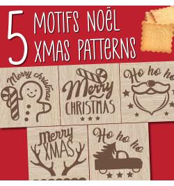 Tampons pour biscuits bois Christmas + découpoir réf.5138