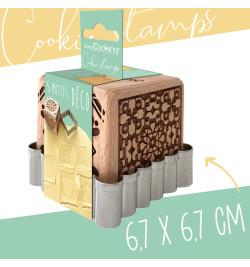 Tampons pour biscuits bois déco + découpoir réf.5139