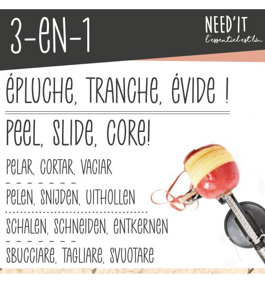 Pèle-pomme 3 en 1 Need'it