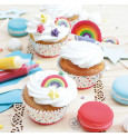 Rainbow-themed sweet scenery decorations